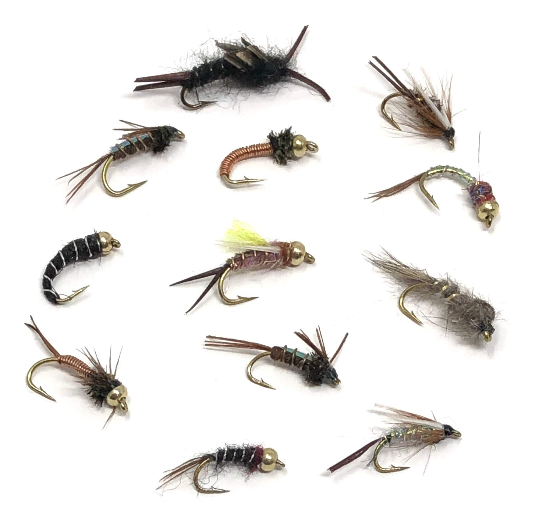 Feeder Creek Fly Fishing Nymph Assortment - 72 Flies in 12 Trout Crushing Wet Patterns (Black Stonefly, Prince, Pheasant Tail, Brassie, and More) Sizes 12-16