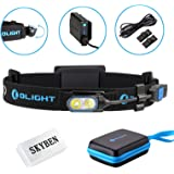 Olight HS2 400 Lumens Cree XP-G2 LED Rechargeable Headlamp 4 Modes Brightest Compact for Outdoor Running,Camping,Fishing,Hunting and Walking,with SKYBEN Accessory,Cool White