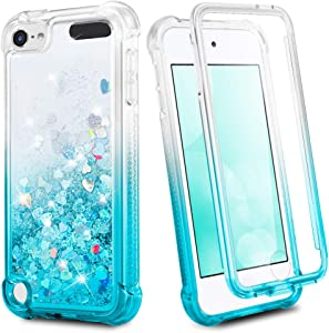 iPod Touch 7th 6th 5th Generation Case, Ruky 360°Full Body Protective Case with Built in Screen Protector Bling Liquid Floating Girls Case for iPod Touch 5 6 7 (Gradient Teal)