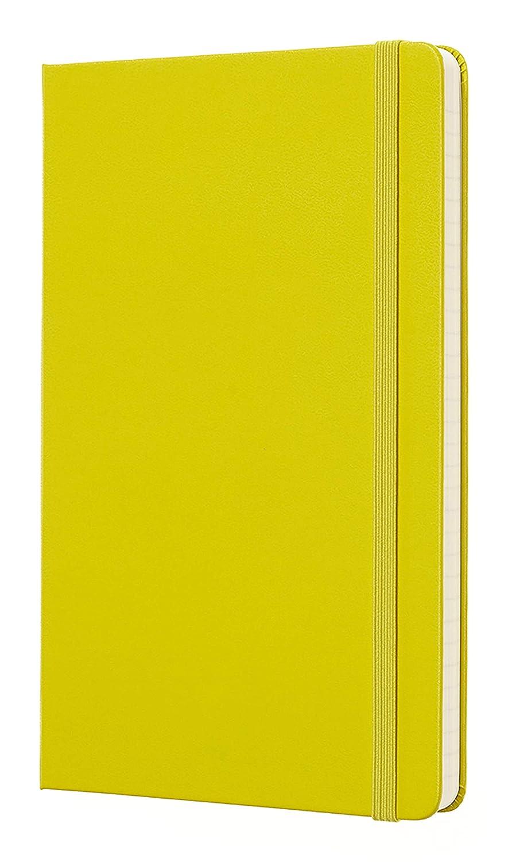Moleskine - Cuaderno Clásico con Páginas Rayadas, Tapa Dura y Goma Elástica, Color Amarillo Diente de León, Tamaño Grande 13 x 21 cm, 240 Páginas