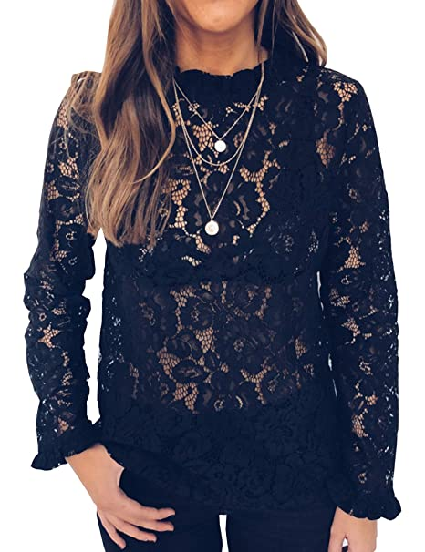 90745feb Relipop Women's Solid Blouse Long Sleeve Lace Flowy Plain Causal T Shirt  Tops Tee at Amazon Women's Clothing store: