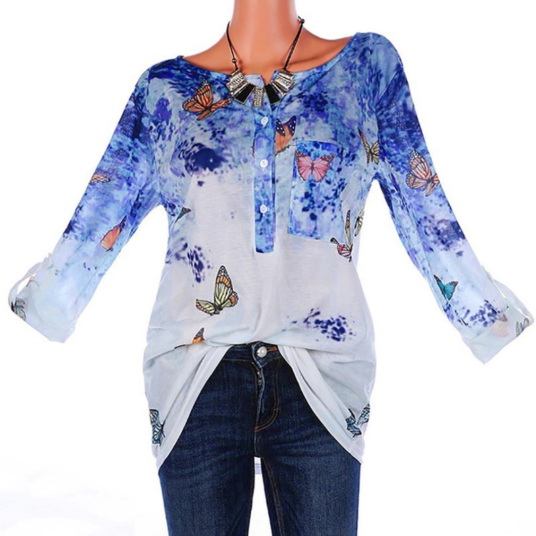 01c84e8e ❊Material:Polyester♥♥Women\'s crewneck button-up ruched long sleeve tunic shirt  womens summer long sleeve floral print irregular hem asymmetrical loose ...