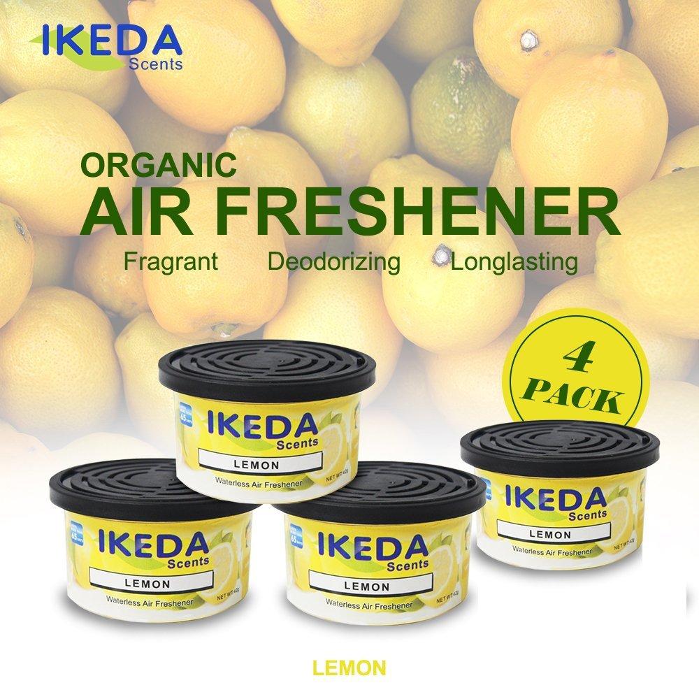 Ikeda Odor Eliminator Scents Organic Block Natural Air Freshener Eliminates Odor in Cars Bathrooms Boats RVs Room Kitchen and Pet Areas (Lemon, 4)
