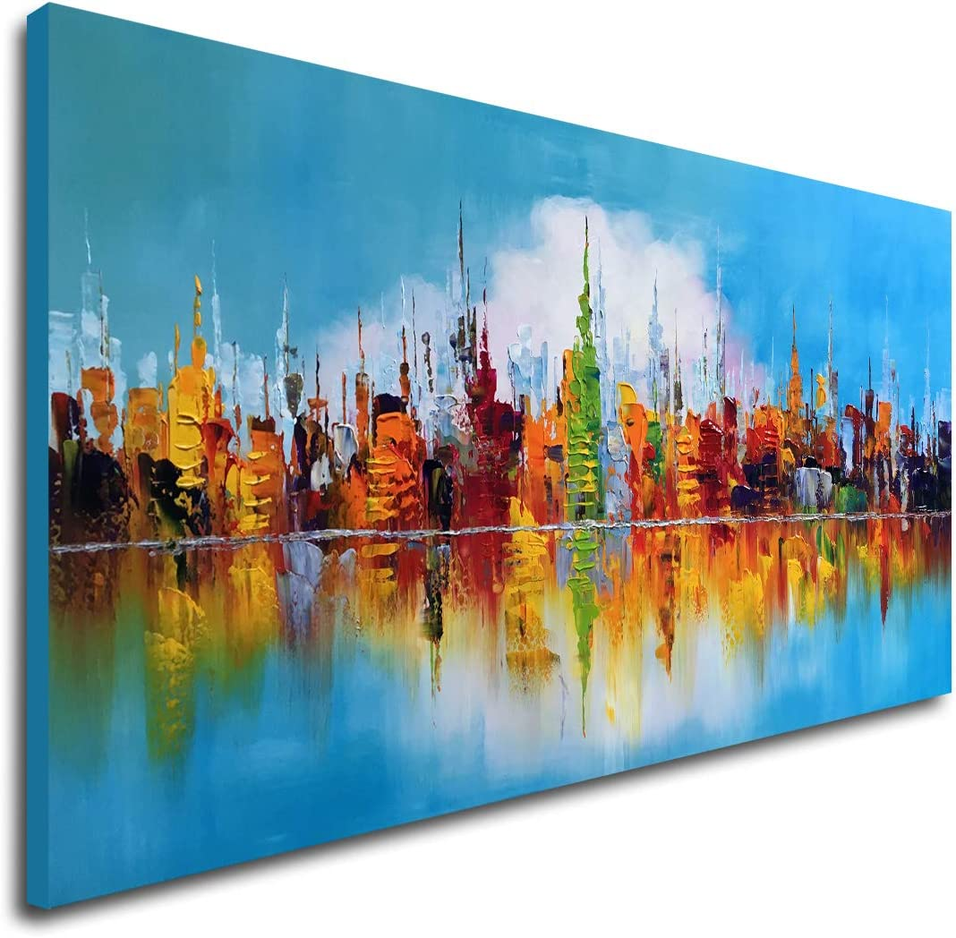 Hand Painted Textured Cityscape Oil Painting on Canvas Abstract Wall Art Colorful City Reflections in Blue Sky Modern Canvas Artwork