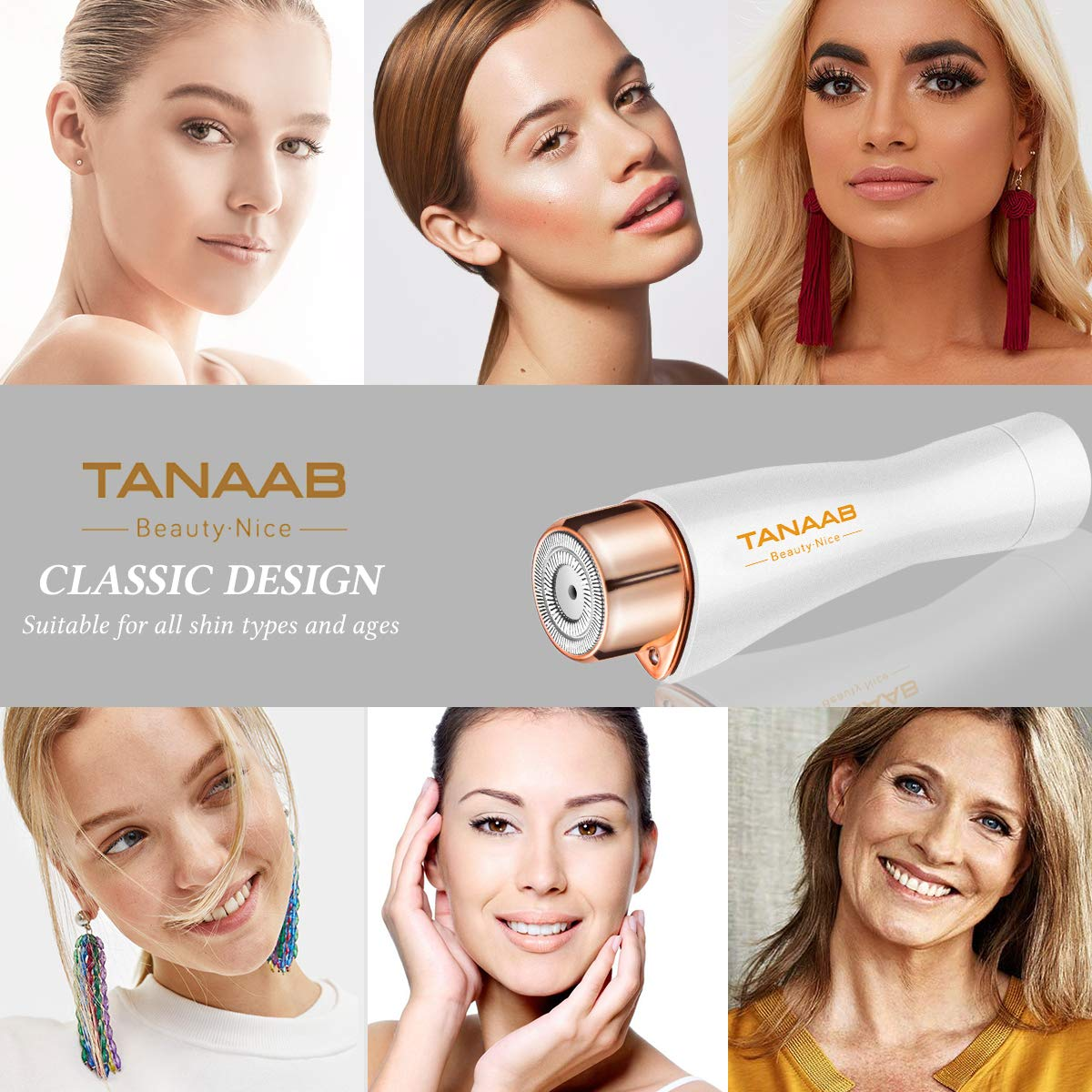 Facial Hair Removal for Women, TANAAB Painless Waterproof Smooth Facial Hair Remover Shaver Razor for Face Upper Lip Chin Cheeks Arm Built-in LED Light - White Gold