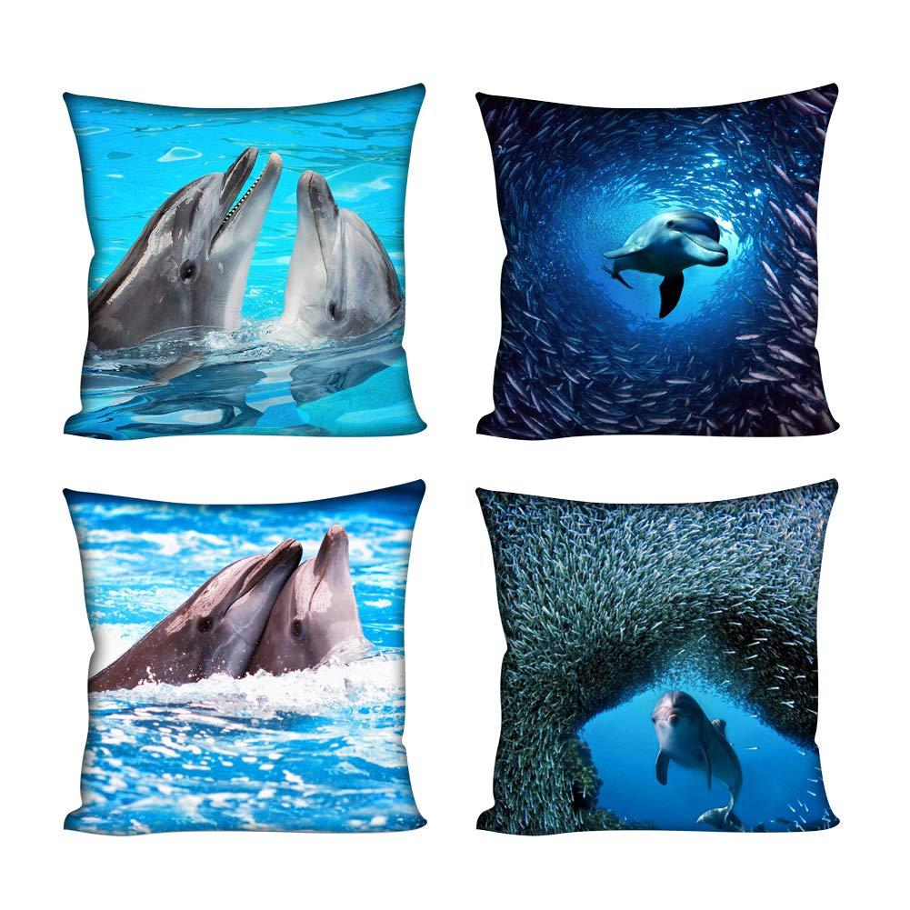 Coloranimal Quadratischer Kissenbezug 3D Tropische Fische Bedruckt, Überwurf Kissenbezug, Delfin, 18inchx18inch Überwurf Kissenbezug