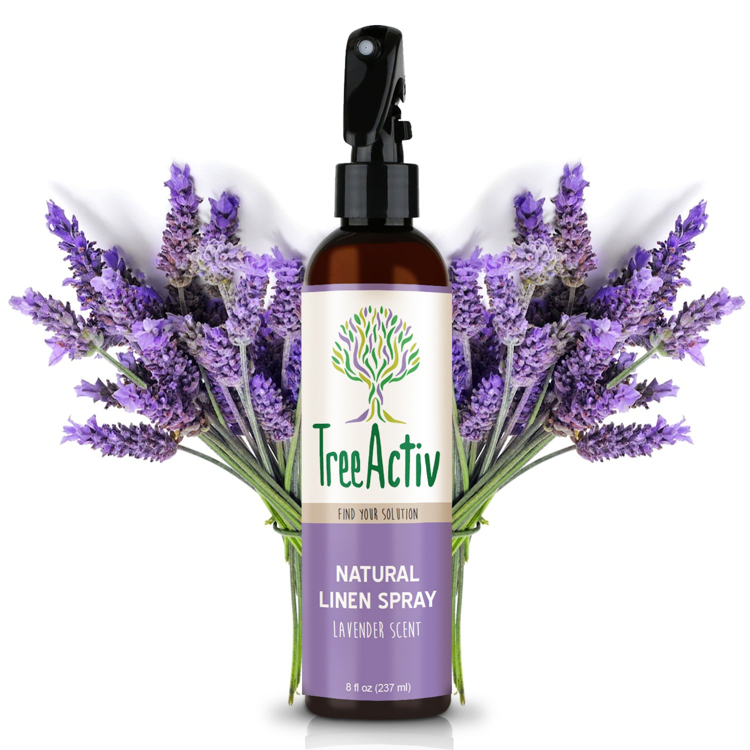 TreeActiv Natural Linen Spray | Kills Acne Causing Bacteria | Eliminates Odors | Fabric, Bedding, Clothing, Carpet & Furniture Refresher | (8 fl oz) (Lavender)