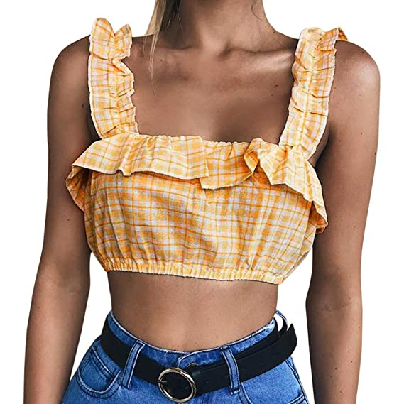 LILICAT Damen Tank Tops Vest Weste Ohne Arm Shirt Frauen Fashion T-Shirt  Camis Elegant Oberteile Retro Hemden Mode Bh Rüschen Halfter Bluse Plaid  Gedruckt ... 3aa40d426a