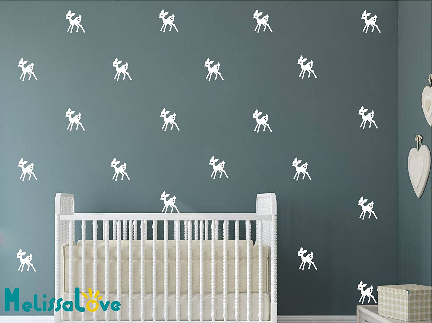 Melissalove 48pcs Pink Deer wall decor stickers 10X8cm DIY animals wall decals for kids room baby nurdery wallpaper D475 Light Pink