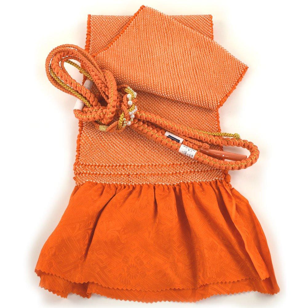 振袖用 帯締め帯揚げセット 総絞り 成人式 B01DSNCXV4 オレンジ オレンジ