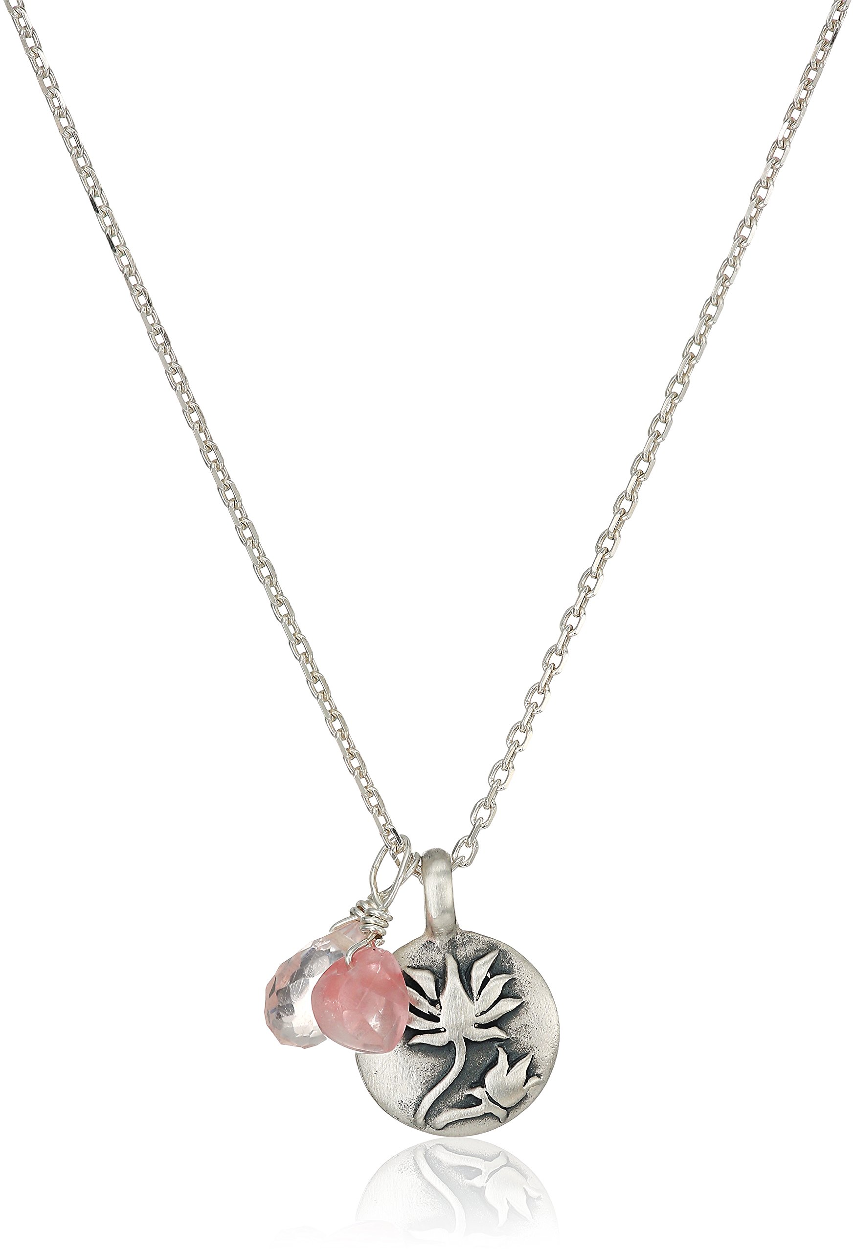 Satya Jewelry Sterling Silver Rose Quartz Lotus Charm Necklace (18-Inch), 18'' by Satya Jewelry (Image #2)