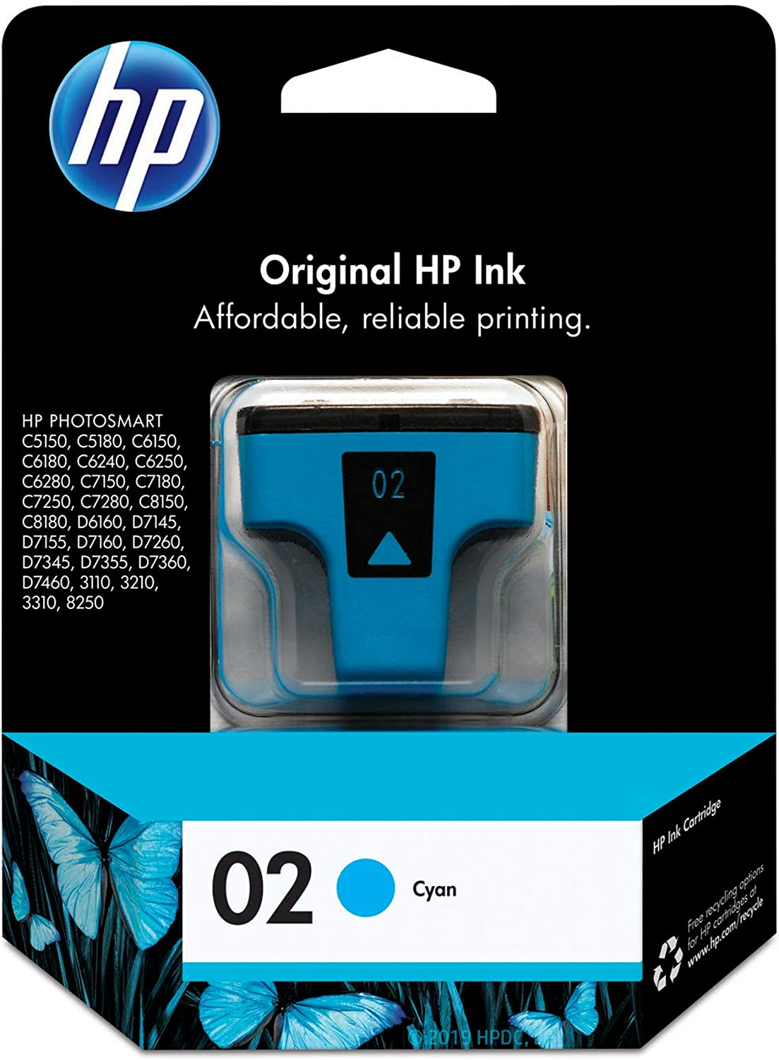 HP 02 | Ink Cartridge | Cyan | C8771WN, Cyan, Magenta, Yellow, Standard