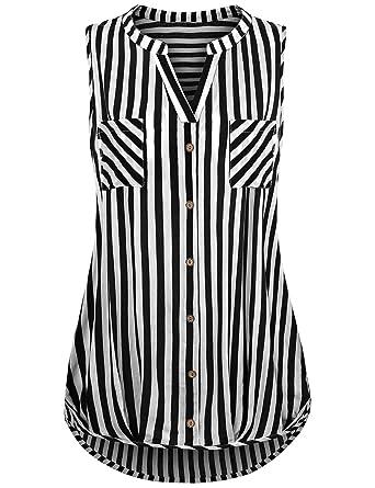 81201e557038d Amazon.com  Finice Women s Notch Neck Sleeveless Casual Stripe Shirt ...