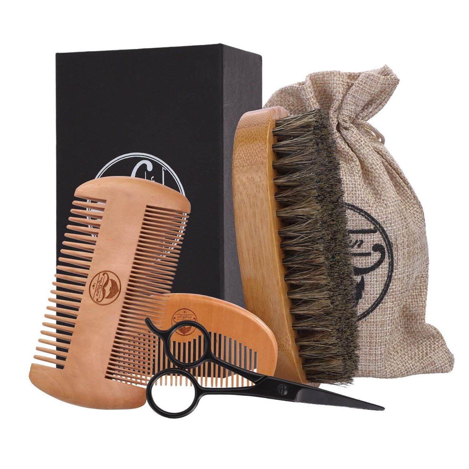 ARTIFUN Beard Grooming Kit for Styling & Growth, 100% Pure Boar Bristle Brush & Sandalwood Comb & Stainless Beard Nose Eyebrow Scissors & Storage Bag, Trimming Grooming Set for Men Care, Ideal Gift