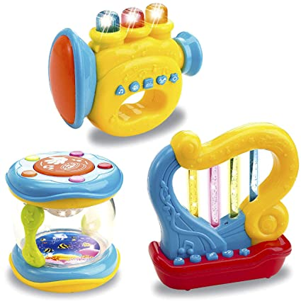 e0b0096d809b Amazon.com: Liberty Imports Musical Toy Instruments for Toddlers Set of 3  Light Up Interactive Drum Trumpet Harp: Toys & Games
