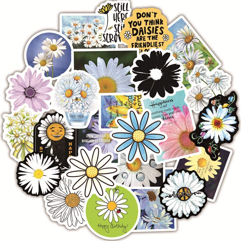 Floral Daisy Stickers for Water Bottle, Vinyl Waterproof Stickers for Laptop,Skateboard,Water Bottles,Computer,Phone case