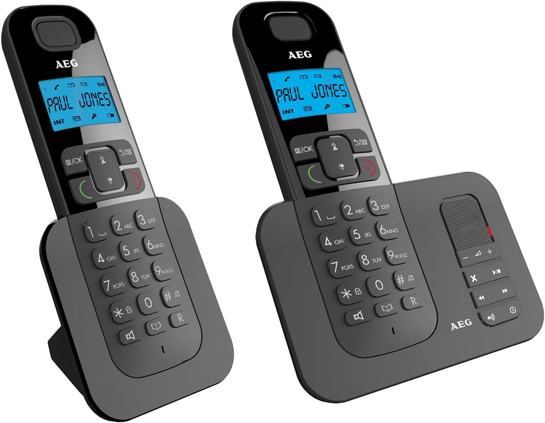 AEG Voxtel D505 Twin - Teléfono inalámbrico DECT con contestador automático: Pack de Dos, Negro: Amazon.es: Electrónica