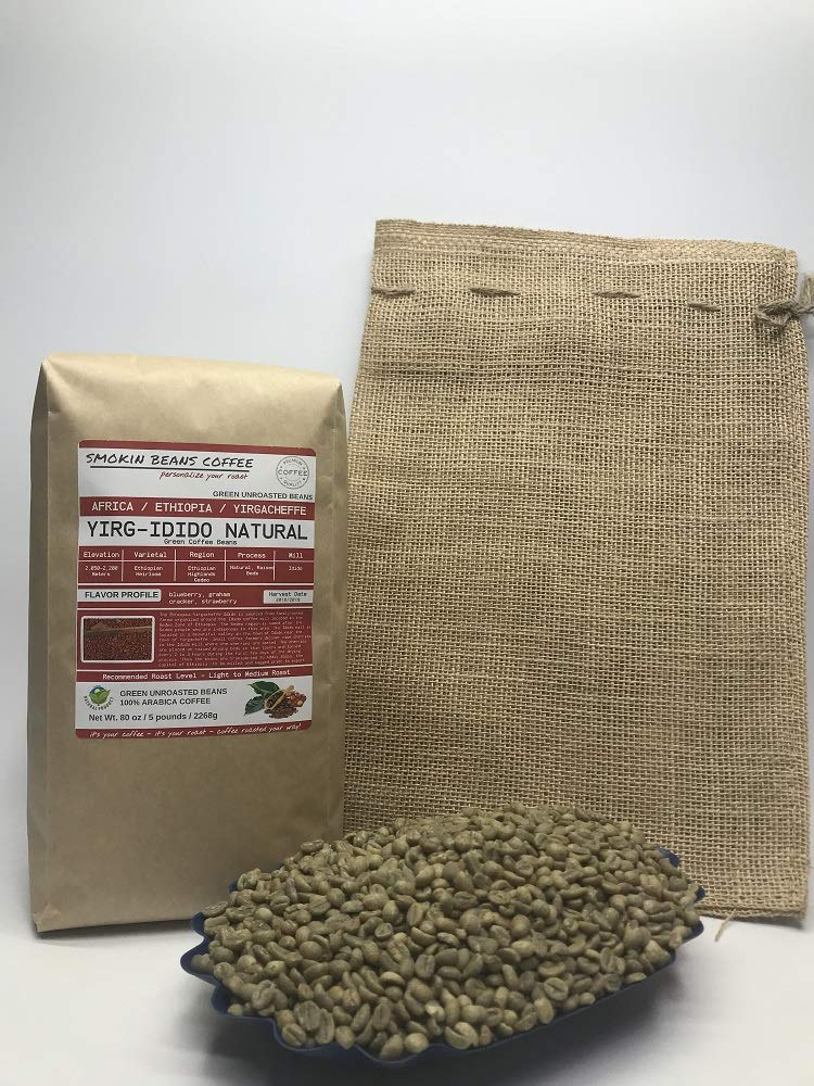 5 Pounds - African - Ethiopia Yirg-Idido Natural - Unroasted Arabica Green Coffee Beans - Ethiopian Heirloom - Drying Process Natural on Raised Beds - Mill Idido - Family Farms - Includes Burlap Bag by Smokin Beans