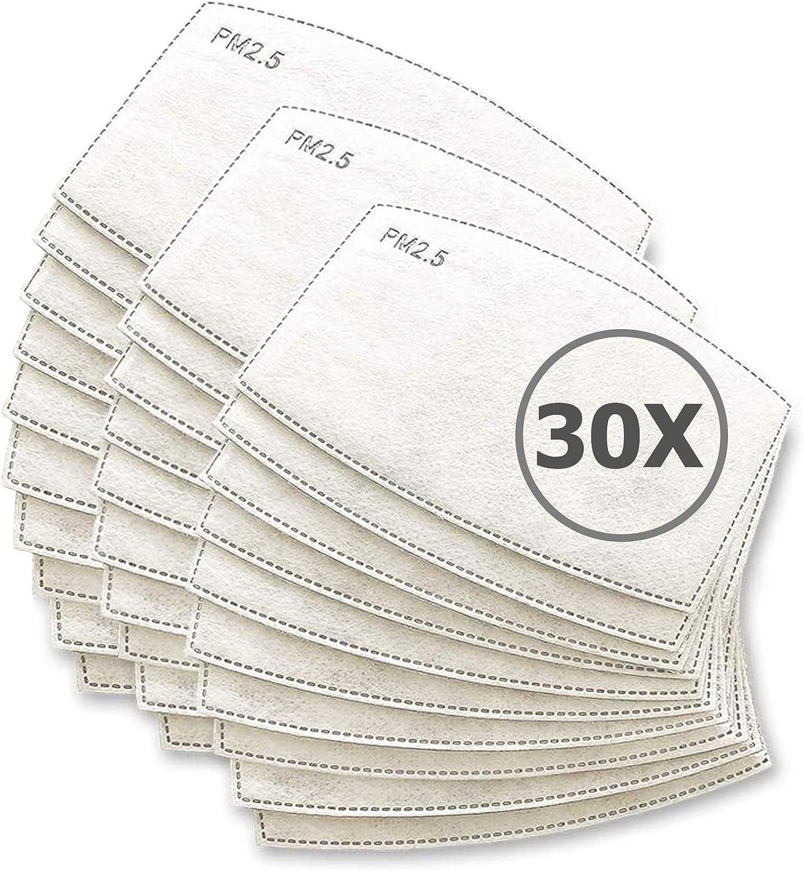 TBOC Filtro Desechable para Mascarilla - [Pack 30 Unidades] Lote de Filtros PM 2.5 Intercambiables con 5 Capas de Filtración Material Suave y Transpirable Evita Polvo Sustancias Nocivas Contaminación