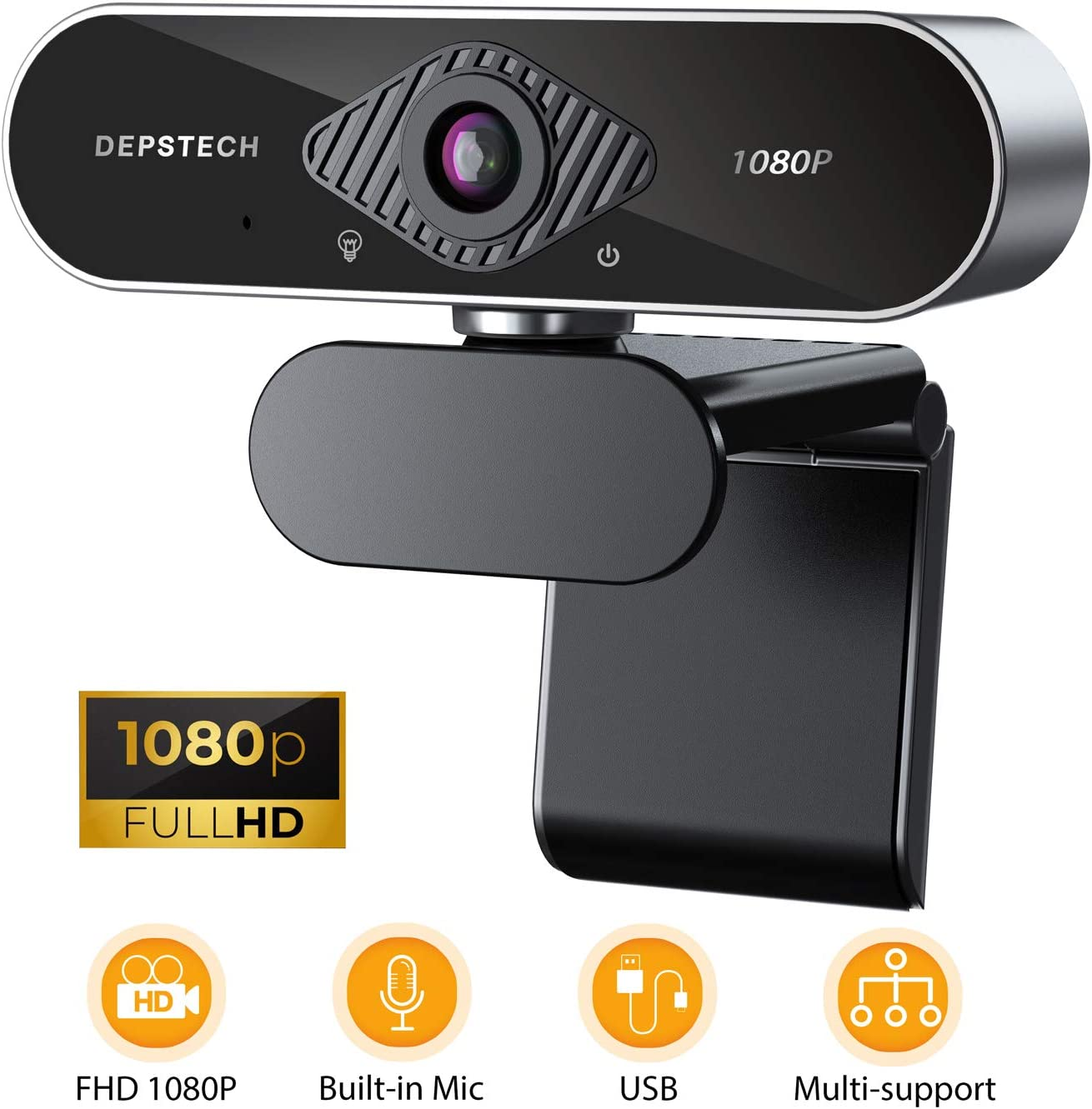 HD 1080P Webcam with Microphone, DEPSTECH USB Webcam with Auto Light Correction for Desktop/Laptop, Streaming Computer Web Camera for Video Conferencing, Teaching, Streaming, and Gaming
