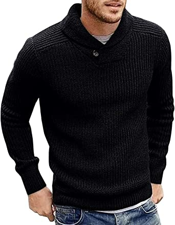 Men Winter Warm Slim Fit Pullover Long Sleeve Knitted Crew Neck Outwear Sweater