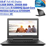 "Lenovo Ideapad Flagship High Performance 15.6"" Full HD Gaming Laptop PC| Intel Core i5 6300HQ Quad-Core| NVIDIA GeForce GTX950 (4GB GDDR3)| 12GB RAM| 256GB SSD| Windows 10"