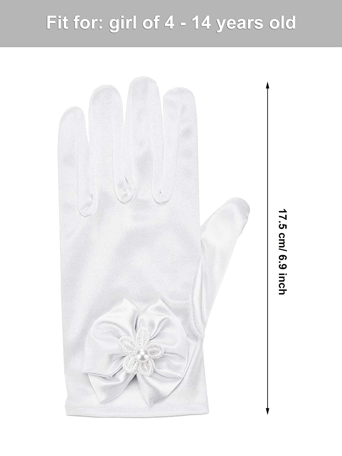 Chuangdi Flower Girl Gloves Short Princess Gloves Bow Tie Gloves Women Faux Pearl Gloves for Wedding Party First Communion