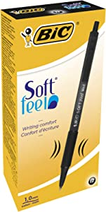 BIC 8373971 Soft Feel Retractable Ballpoint Pen, Medium Point, Black, 12-Count