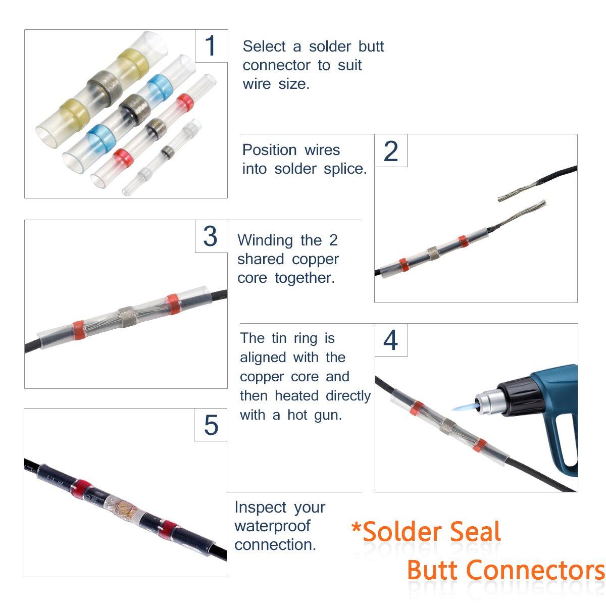210Pcs Heat Shrink Wire Connectors Solder Seal Wire Connectors ...
