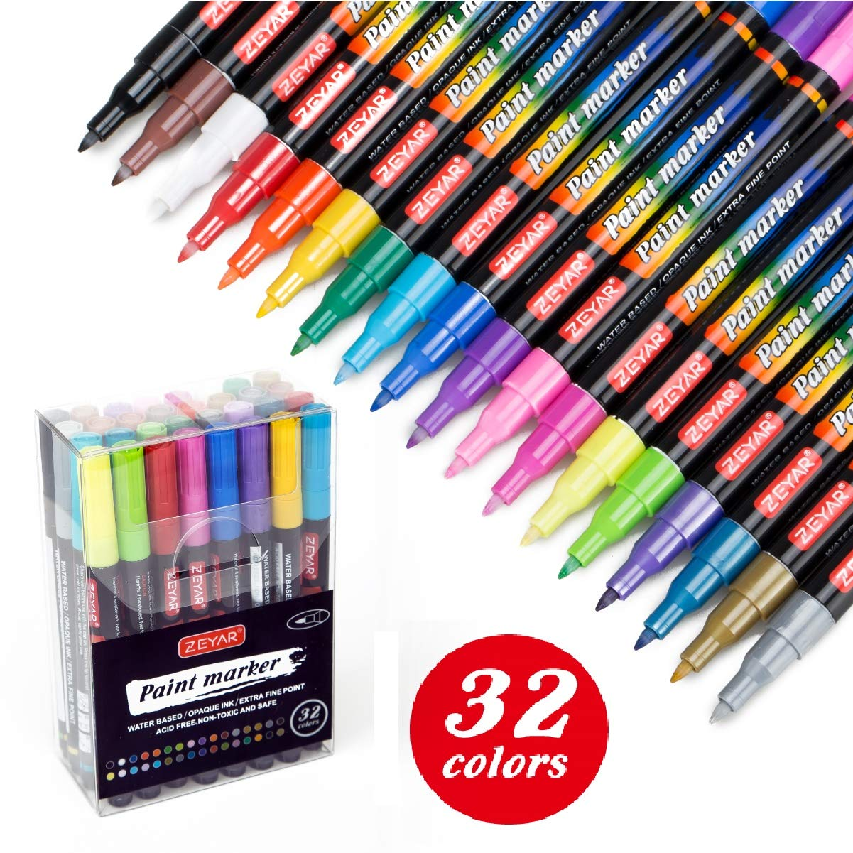ZEYAR Acrylic Paint Pens, Water based, Extra Fine Point, 32 vibrant colors, Paint Markers for Glass, Rock, Paper, Ceramic, Plastic and Non porous surfaces, Opaque Ink, Professional Marker Manufacturer