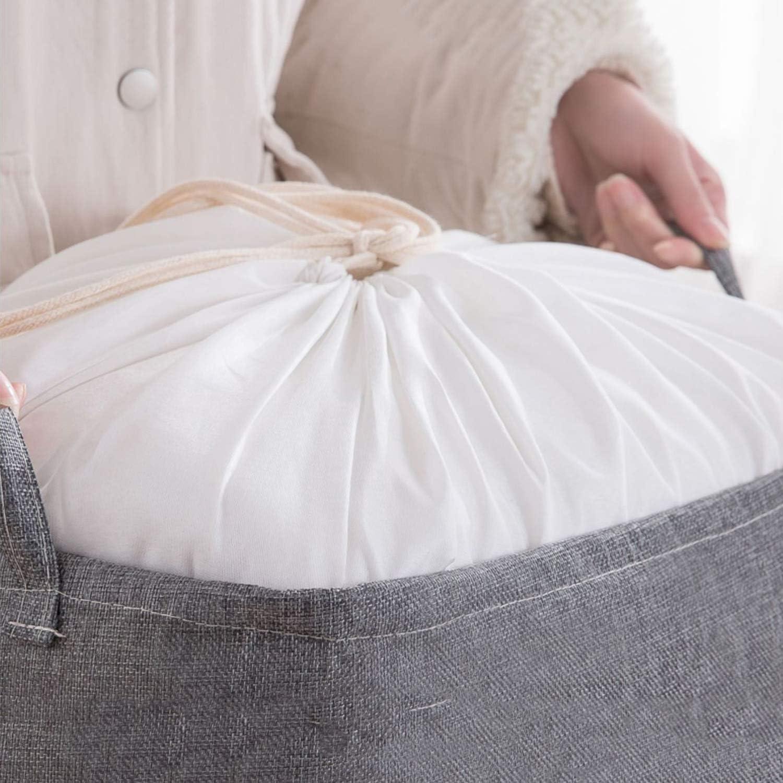 LITIAN Les vêtements Sales Panier, Coton et Lin Sac de Rangement, Grand Tissu, 100L Pliable Panier à Linge (Quatre Couleurs) Brown Brown