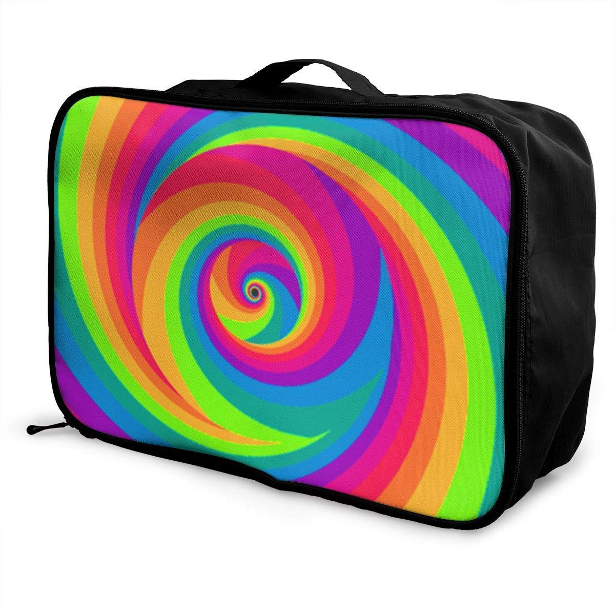 Portable Luggage Duffel Bag Colorful Tie Dye Travel Bags Carry-on in Trolley Handle JTRVW Luggage Bags for Travel