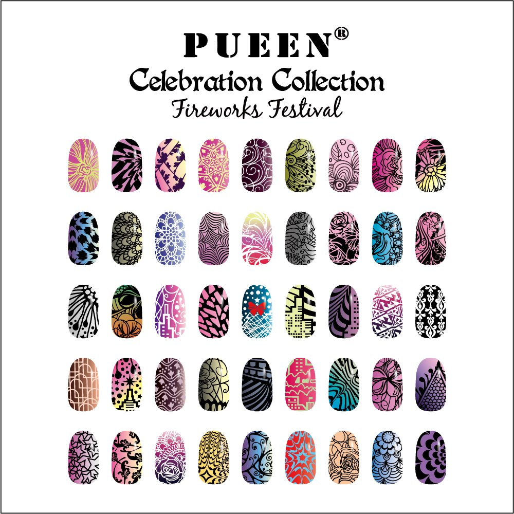 Amazon.com : PUEEN Nail Art Stamping Plate Celebration Collection ...