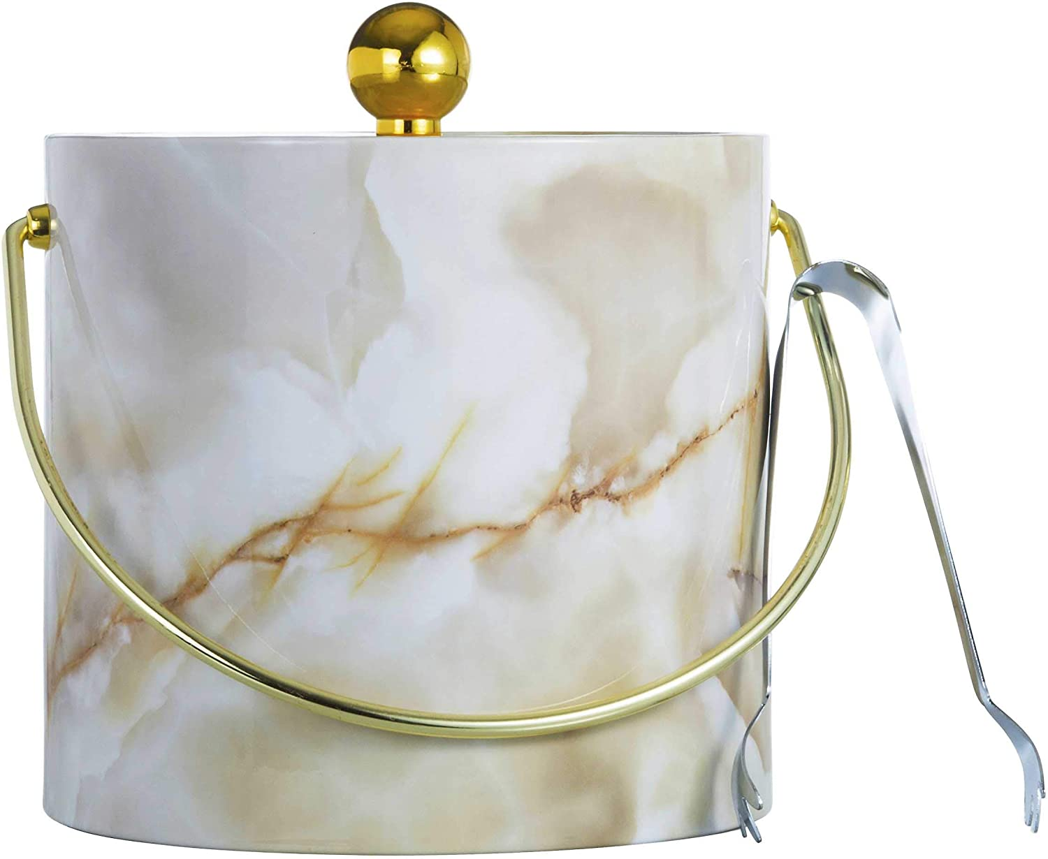Hand Made In USA Gold Marble Double Walled 3-Quart Insulated Ice Bucket With Bonus Ice Tongs