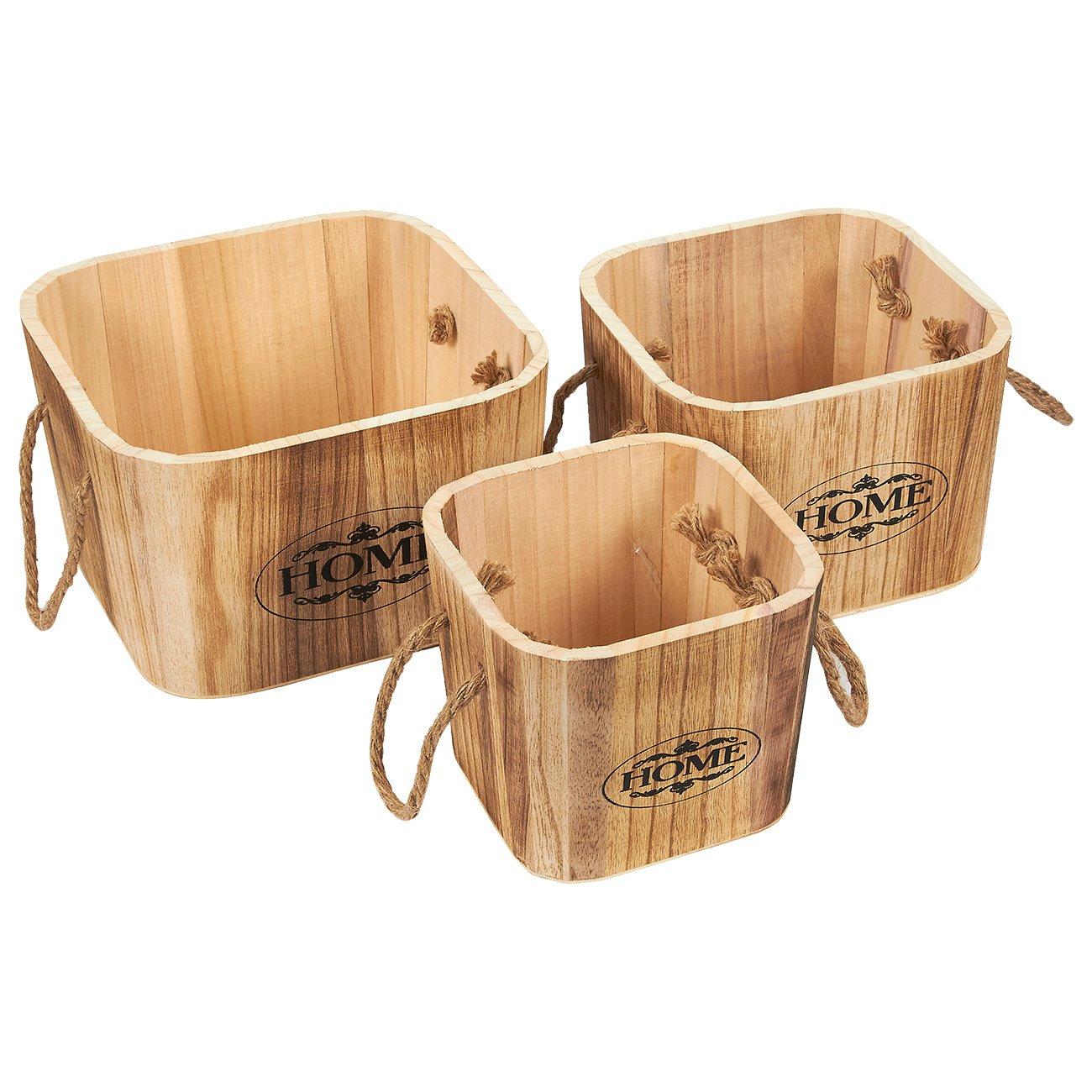 Juvale Wooden Basket – 3-Piece Rustic Wooden Buckets with Rope Handles, Wood Crates Storage Bins, Decorative Organizing Baskets for Shelves, Brown - Small, Medium, Large