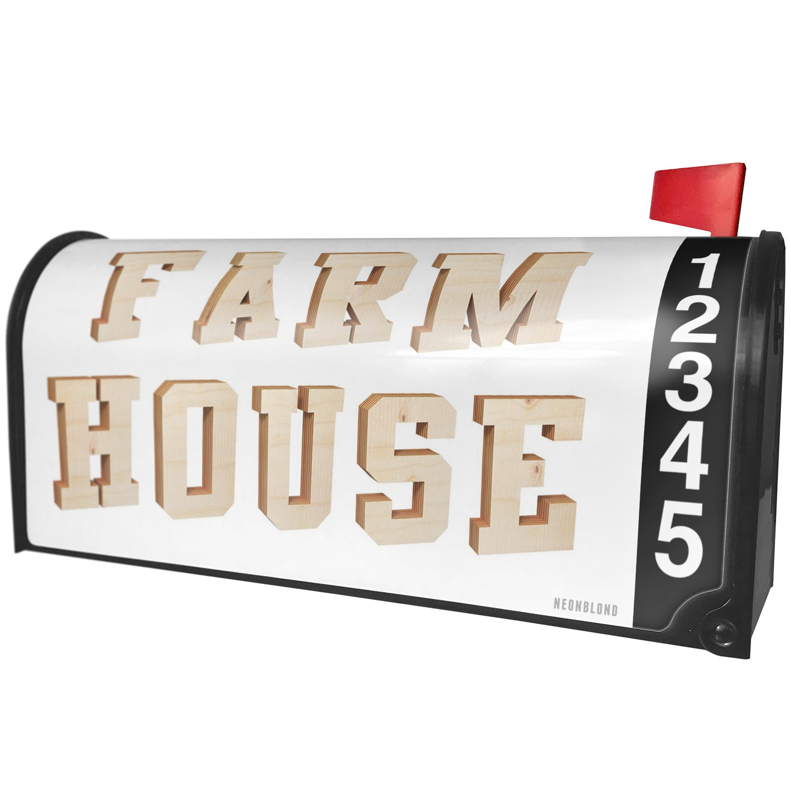NEONBLOND Farm House Plywood Wood Lettering Magnetic Mailbox Cover Custom Numbers