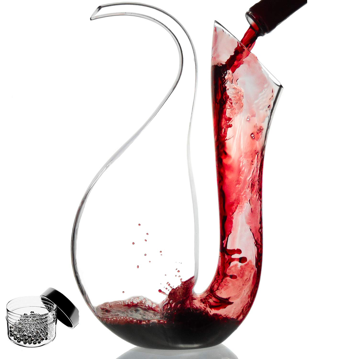 Amazing Home Penguin Wine Decanter 100% Hand Blown Lead-free Crystal Glass,Prepackaged Red Wine Carafe, Wine Gift, Wine Accessories,Luxury Gift Box Wraped and Free Cleaning Beads Set