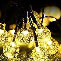 Guirnaldas Luces Exterior Solar ,WOWDSGN 60Led IP67 Resistente al agua 8 modos Cadena de Bola Cristal Luz para patio…