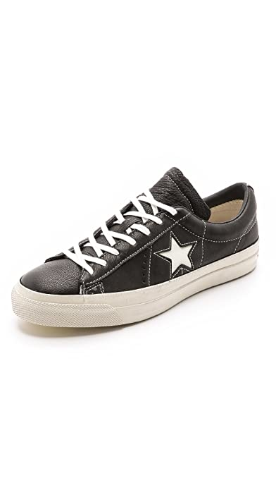 6ebf484c7728 Converse X by John Varvatos JV ONE Star OX Black Turtledove Leather  Sneakers (US 8.5)  Amazon.ca  Shoes   Handbags