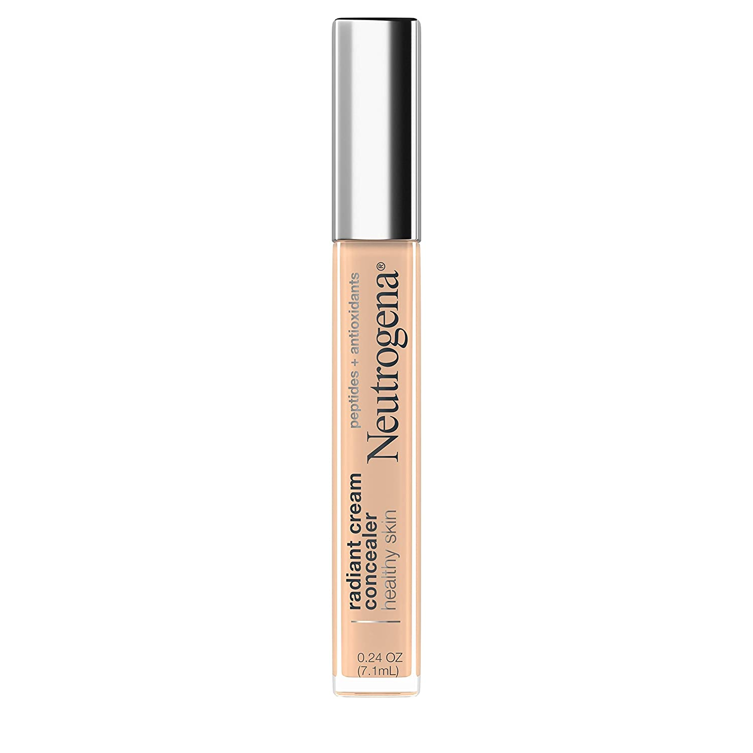 Neutrogena Healthy Skin Radiant Brightening Cream Concealer with Peptides & Vitamin E Antioxidant, Lightweight Perfecting Concealer Cream, Non-Comedogenic, Ecru Light 02 with cool undertones, 0.24 oz