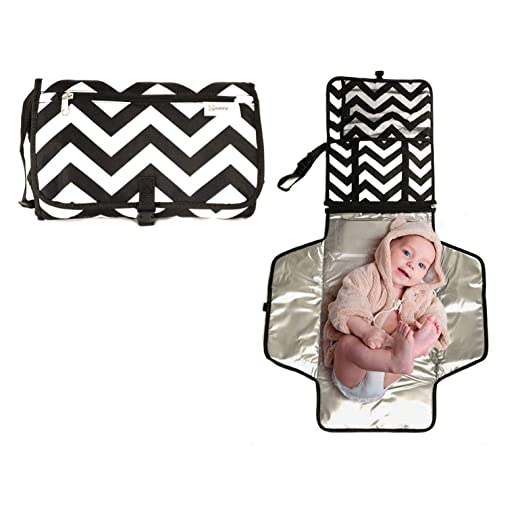 Portable Diaper Changing Pad by BabifulLove - Foldable Travel Changing Station Kit with Diaper & Wipes Pockets - Padded Head Cushion Waterproof & Wipeable