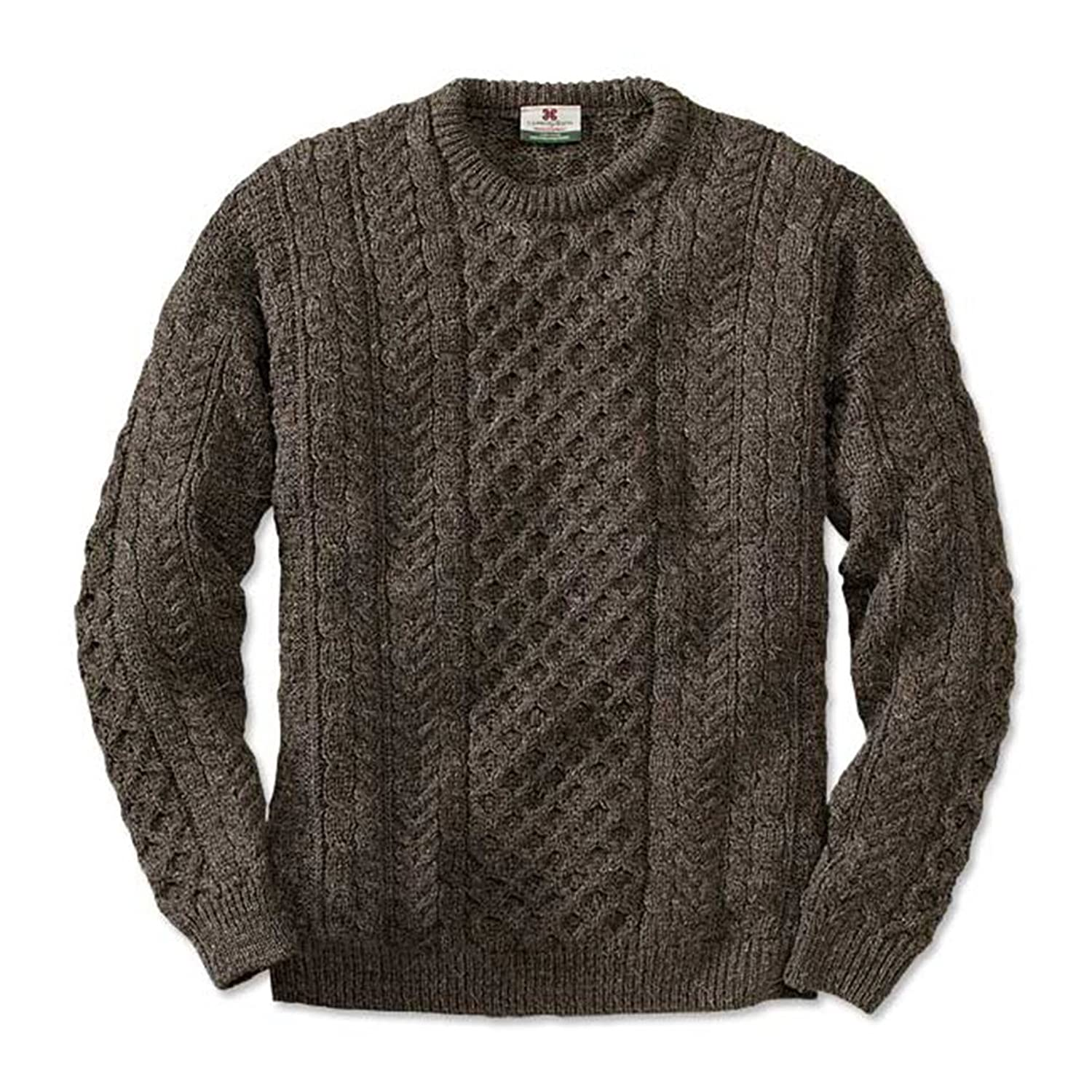 100% Pure Wool Irish Fishermans Rib Sweater with Patches by West ...