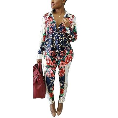Subtle Flavor Women's Long Sleeve 2 Pieces Outfit Floral Print Shirt and Long Pants Bodycon Jumpsuits Set