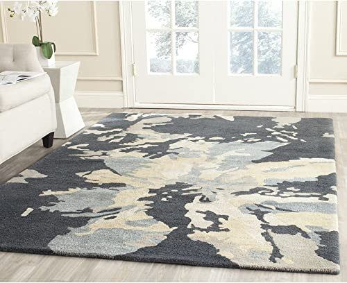 Safavieh Bella Collection BEL670A Handmade Modern Floral Abstract Art Steel Blue Wool Area Rug 8' x 10'