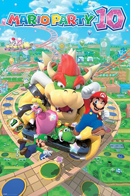 Mario Party 10 Nintendo Wii U 2015 Party Video Game Series Nd Cube Bowser  Mini Games Poster 24x36 inch