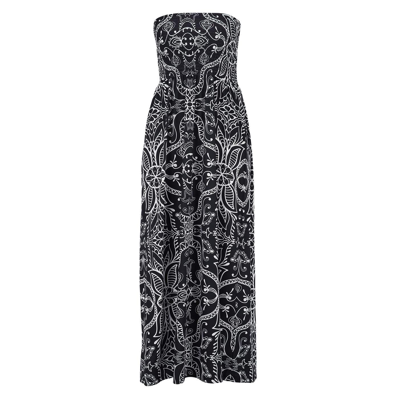 3c6d5e39f80 HDE Women s Strapless Maxi Dress Plus Size Tube Top Long Skirt Sundress  Cover Up  Amazon.co.uk  Clothing