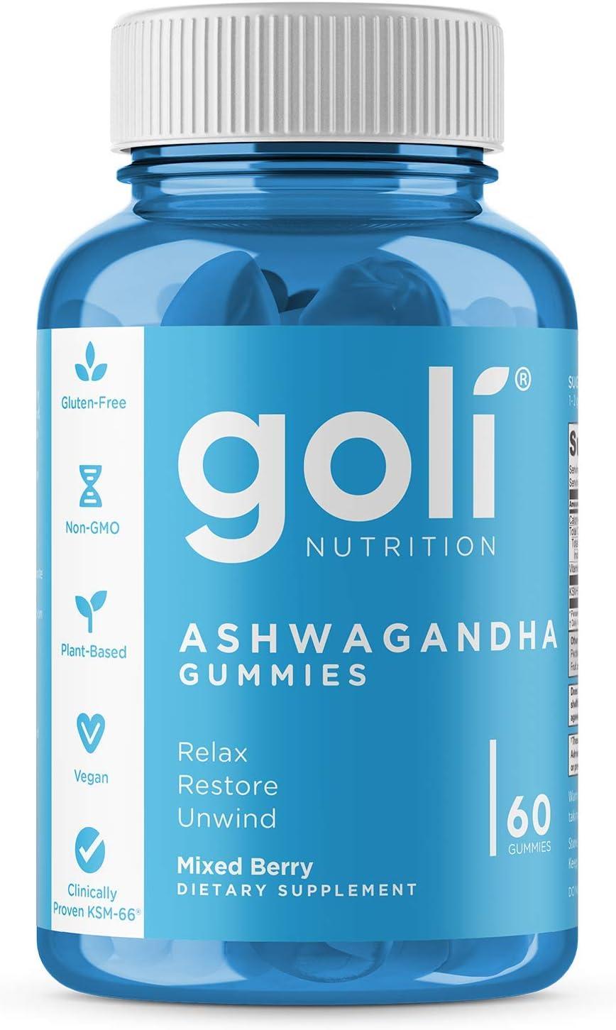ASHWA Vitamin Gummy by Goli Nutrition - Ashwagandha and Vitamin D Gummies - Relax. Restore. Unwind. (Mixed Berry, KSM-66, Vegan, Plant Based, Non-GMO, Gluten-Free & Gelatin Free - 60 Count)