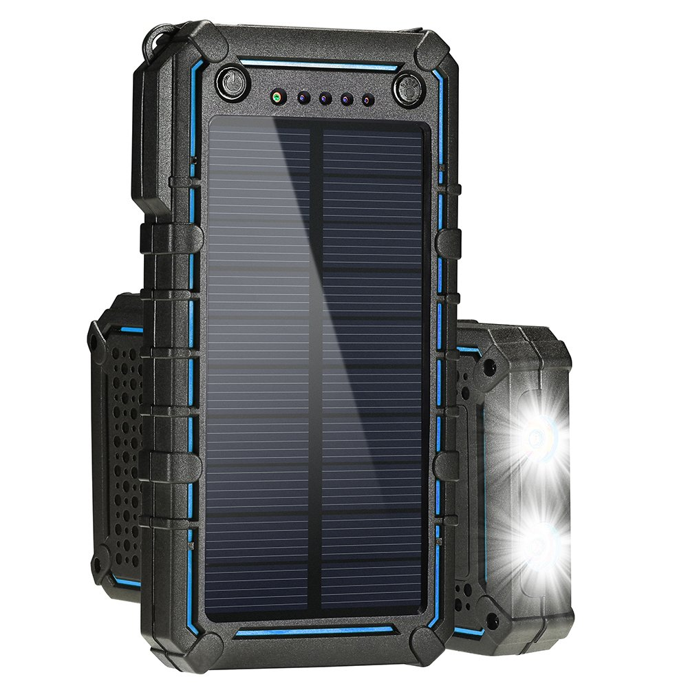 Hallomall Solar Charger,Solar Power Bank 13500mAh Portable Solar Phone Charger External Solar Panel Battery Pack Phone Charger With Dual USB and 2 LED Flashlights for iPhone, Android phones, and More