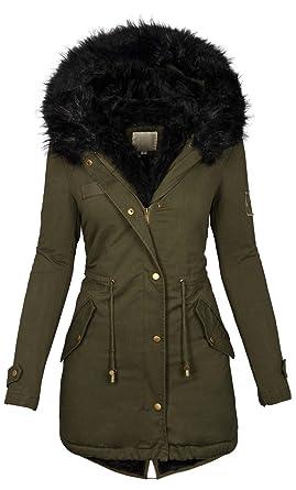 new concept 535e9 cbd00 Golden Brands Selection Damen Winter Jacke warme Winterjacke Baumwolle  Parka Mantel Buntes Fell B515
