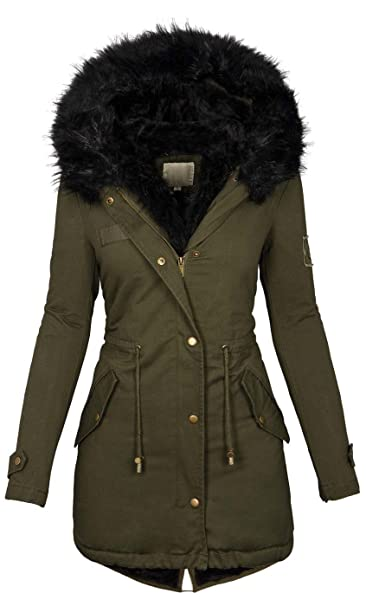 new concept 68dc8 39e42 Golden Brands Selection Damen Winter Jacke warme Winterjacke Baumwolle  Parka Mantel Buntes Fell B515